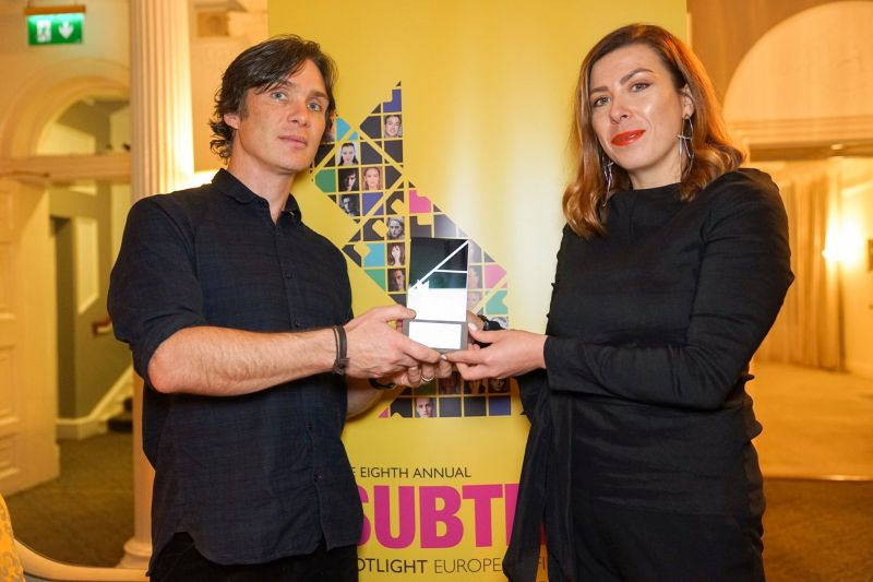 Cillian Murphy presented OIFF general producer Julia Sinkevych with the award.